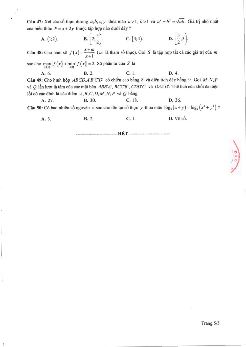 Đề thi tốt nghiệp THPT 2020 môn toán Bộ GD&ĐT ra ngày 7/5